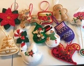 Machine Embroidered Felt Christmas Ornaments Set of 12