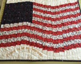 Bargello style Waving American Flag quilted table topper wall haning