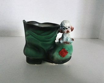 Vintage Shoe Planter,Boot Planter,,Hens and Chics,Dog and Boot Planter, Poodle