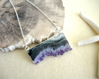 Amethyst Necklace, Amethyst Slice Druzy Necklace, Sterling Silver Chain Necklace, Amethyst Stalactite Necklace, Geode Necklace, Gift For Her