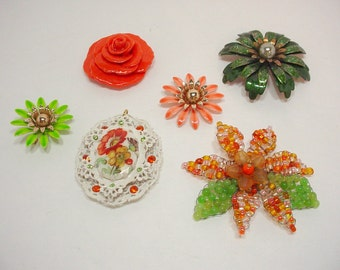 Vintage Brooch Lot, Orange White And Green, Cameo Pendant, Flower Brooch, Handmade Rose, Destash Jewelry