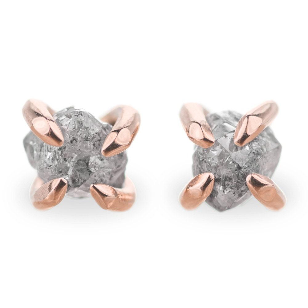 14k Rose Gold Uncut Diamond Studs, Rough Diamond Earrings, Diamond Studs,  Raw Diamond