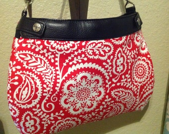 Tonal red floral Michael Miller Thirty One suite purse cover handmade