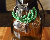 YOGA Wine Charms - sage green beads with tin gift box