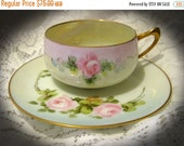 20% Heart Sale Antique 1920's Hutschenreuther Bavaria Teacup Tea Cup And Saucer-Pink Roses Hand Painted