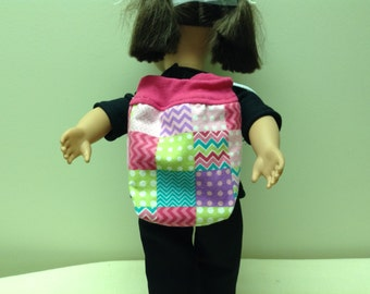 American Girl or other 18 inch doll backpack in multicolor print