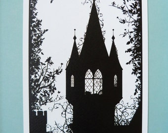 """A5 Sleeping Beauty Silhouette Print 5.8"""" x 8.3"""" Charles Perrault, Brothers Grimm, Fairytale Art Print, available as part of my A5 Multibuy"""