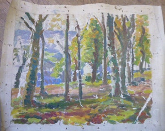 Distressed Antique French Oil Painting Woodland Forest Original Painting