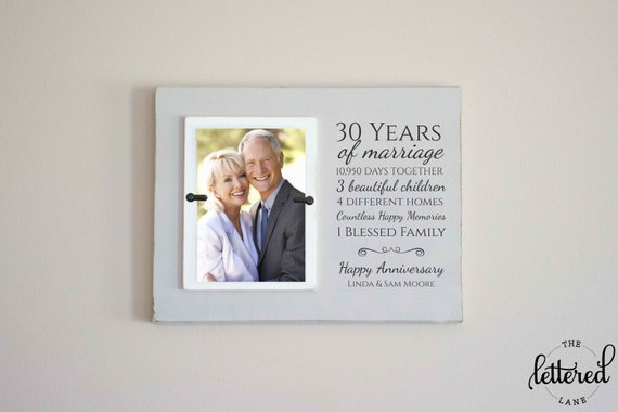 Anniversary Gift Picture Frame, Parents Wedding Anniversary, Keepsake Gift, Custom Picture Frame, 30th anniversary