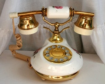 White and Brass Phone, Vintage Rotary Princess Phone, Vintage Floral Telephone, Old Land Line Princess Phone.