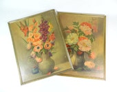 Vintage Floral Still Life Prints, Framed Floral Art Print SET, Textured Flower Still Life Painting Print, Botanical Wall Art, Cottage Chic