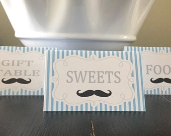 MR MUSTACHE Birthday or Baby Shower Buffet Cards Table Tents Food Labels {Set of 8}  Light Blue Black Chevron - Party Packs Available
