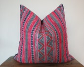 Vintage Batik Hmong Pillow Cover-Vintage hemp,Textile, Natural Indigo Batik, Tribal, Indigo- Hmong Accent Pillow - Tribal Decor