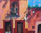 "Original painting detail of old doors and wall texture with shadows and flowers in San Miguel de Allende acrylic art on board 19 ""x 15"""