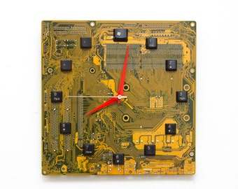 Geeky Wall clock - recycled Computer clock- gifts for him - yellow circuit board wall clock - c5832
