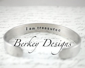 I Am...Affirmation Secret Message Hand Stamped Cuff Bracelet Can Be Custom Quote