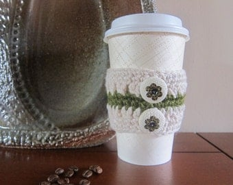 Ecru Coffee Cozy with Buttons, Crocheted Cup Cozies, To Go Coffee Cozies, Cozy for To Go Cup, Sequin Cup Cozy, Holiday Sequin Button Cozy