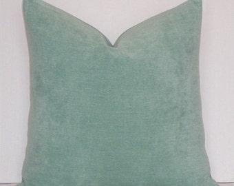 Velvet Chenille - BOTH SIDES - Decorative Pillow Cover - Spa Green - Accent Pillow - Toss Pillow
