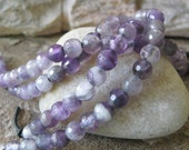 """Purple Large Hole Bead 8 MM Amethyst Faceted Round Big 2.5 mm Hole Fit Leather 8"""""""