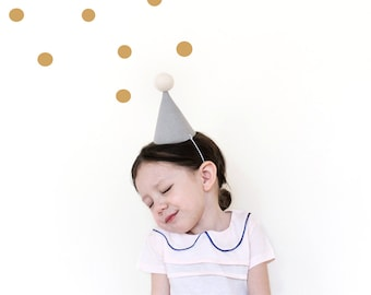 Party Hat - linen party hat in grey (small)