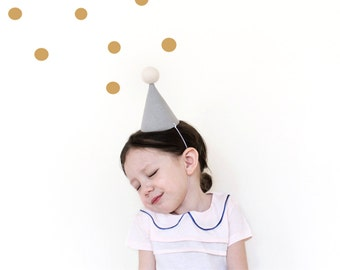 Birthday Party Hat - linen party hat in grey, baby party hat, pom pom hat