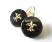 FLEUR DE LIS vintage glass button earrings