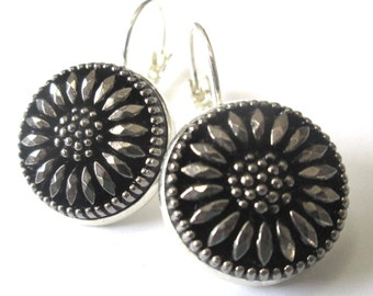 BLACK DAISY glass vintage button earrings, Czech glass buttons, silver lever backs