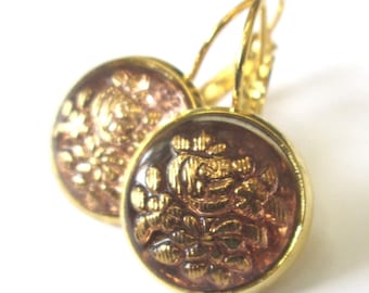 PEACHY PINK vintage button earrings, Czech glass buttons, gold lever backs