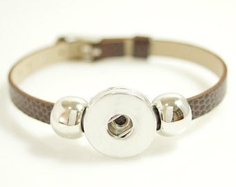 """1 Brown Faux Leather Buckle Bracelet - 5-7"""" FITS 18MM Candy Snap Charm Jewelry Silver kb0996 CJ0270"""