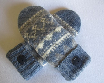 Women's wool Fair Isle mittens blue gray and white  fleece lined  RTS