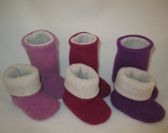 Cashmere sock booties 3 color choices Polartec fleece lining one size 6-12 months  RTS baby shoes