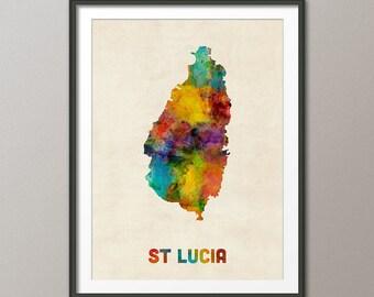 St Lucia Watercolor Map, Art Print (2297)