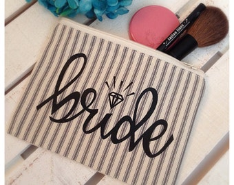 Bride Makeup Bag - Bridal Shower, Makeup Bag, Bridal Bag, Canvas Tote, Zippered Makeup Bag, Engagment Gift, Bridal Bag, Handmade Makeup Bag