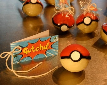 """Pokemon Go inspired Teens' Pokemon Party Favors, """"GOTCHA! Ball"""" Sour Lemon Cookie ball with Suprise Sugar Candy Stars Inside, Quantity: 6"""