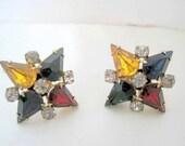 Multicolor Rhinestone Earrings Star Shaped  Screw Back 50's