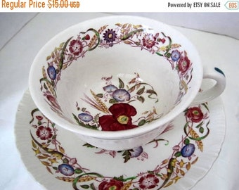 Wedgwood Cornflower Cup Saucer - Burgundy Floral - Made in England