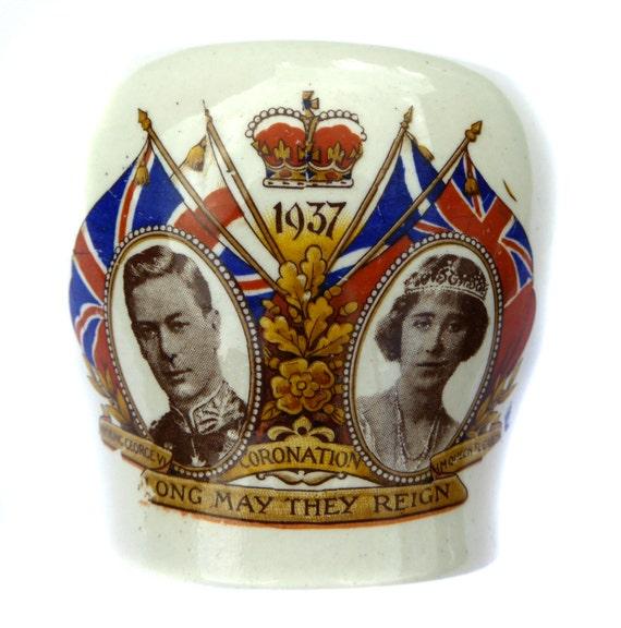 Lancaster & Sons Sugar Bowl Coronation of King George VI Vintage Royalty Royal Souvenir Queen Elizabeth The Queen Mum King's Abdication