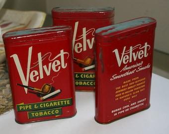 Vintage Velvet Pipe & Cigarette Tobacco Tins Set of Three