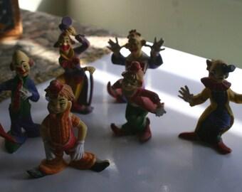 Vintage Clown Figurines Set of Six