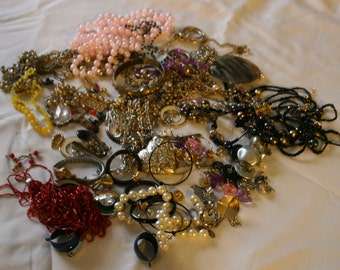 Costume Jewelry Destash Huge Lot Beads Earrings Pieces and Parts