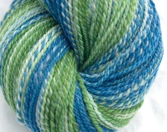 Hand Dyed Handspun Yarn, Merino Wool, 2 Ply Sportweight, 359y in Sea Green