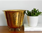 Vintage Brass Planter Claw Foot Hammered Brass Rustic Boho Chic Indoor Outdoor Garden Planter