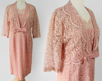 50s 60s Wiggle Dress Bolero Jacket Pink Coral Lace Vintage Wedding