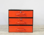 Vintage Black and Orange Utility Cabinet Tool Storage 3 Drawer Compartments Tool Chest