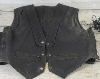 Vintage Mens Leather Motorcycle Vest Snap Closure Laced Sides