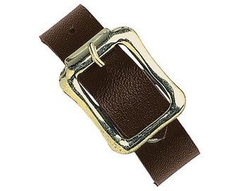 """5-1/2"""" x 1/2"""" Brown Genuine Leather Luggage Strap with Brass Plated Buckle"""