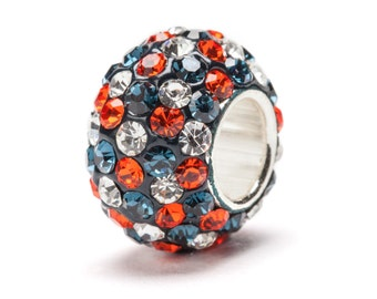 Navy, Orange and Clear Spotted Crystal Bead Charm - For Bracelet or Necklace - Fits Pandora
