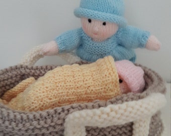 Twin Dolls. Knitted Dolls in Carry Basket. Knitted Crib. Blue and Pink. Blanket and Pillow. Chunky Basket. Play Set. Small Dolls. Cute