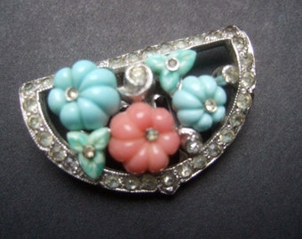 TRIFARI KTF Art Deco Fruit Salad Dress Clip c 1930s