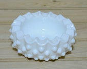 Vintage White Hobnail Milk Glass Ashtray Votive Candle Holder Home Decor Barware